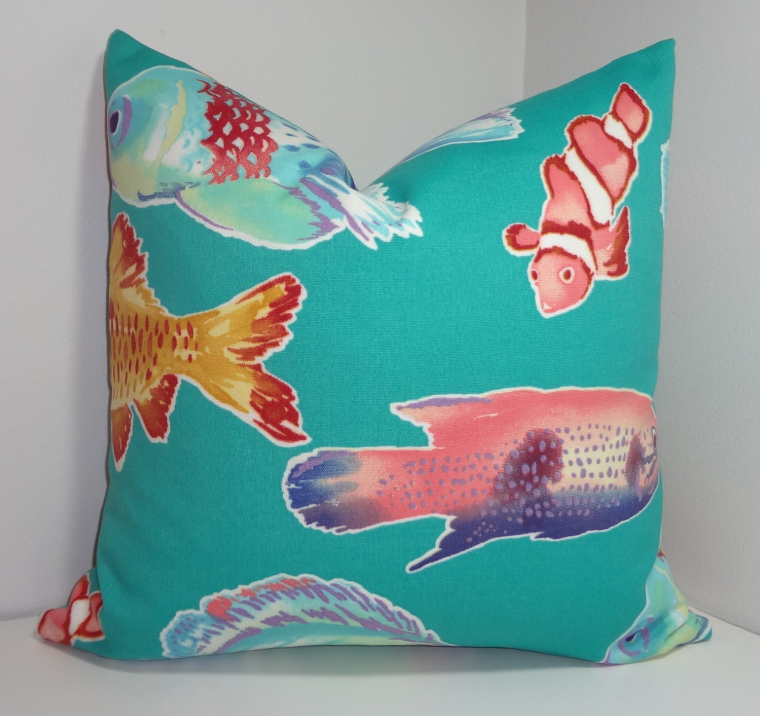 Sale outdoor fun ocean fish teal outdoor pillow cover cushion for Outdoor fish for sale