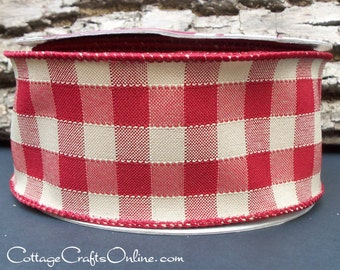"Wired Ribbon, 2 1/2"" Red and Tan Gingham Check - THREE YARDS - Offray ""Sinclair"" Plaid Rustic Craft, Americana Prim Decor Wire Edged Ribbon"