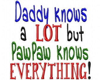 Daddy knows a LOT but PawPaw knows EVERYTHING  - Machine Embroidery Design - 8 Sizes