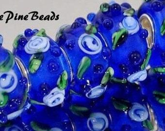 Murano Lampwork Glass Beads Blue for European Style Charm Bracelets  European Charm BraceletWhitePineBeads  917