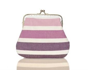 Fabric Coin Purse - Framed Clutch Purse - Pastel Stripes - Silver Frame - Large coin purse - Purple Purse