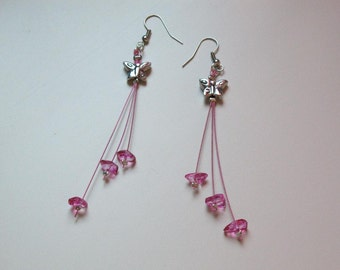Pink chips and butterflies dangle earrings
