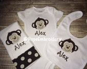 Monogrammed Monkey   Onesie , Bib and Burp Cloth