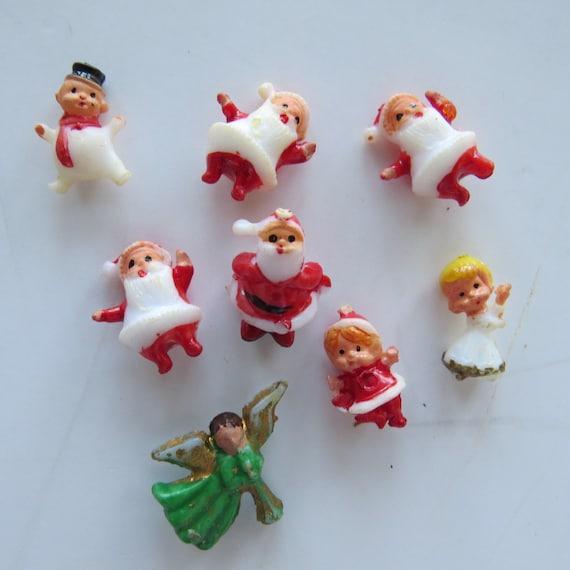 Vintage 8 piece miniature christmas craft supplies santa for Vintage christmas craft supplies