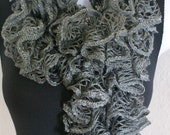 Ruffle lace soft scarf hand knit GRAY  shiny + 60 inches long