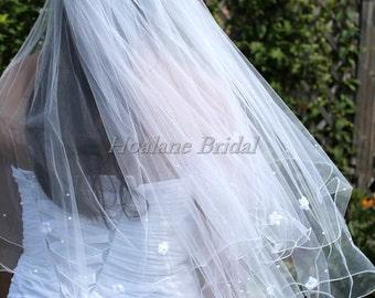 Veil, Bridal veils, Wedding Veil, Circular veil,  Waist length veil with pearls & silk flowers