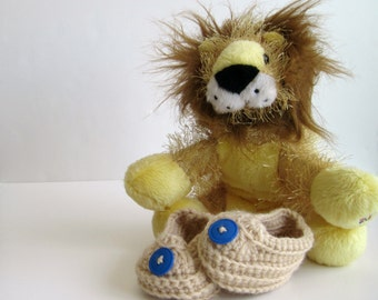 Crochet Baby Booties - Tan with Dark Primary Blue Buttons - Newborn to 3 Months
