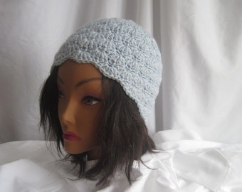 Hat Womans Silver Blue Crochet Hat Stylish, Chic, Trendy and Lacy Cloche Cap Handmade Fashion Accessory