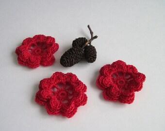 3 Thread Crochet Flowers - Red Irish Rose - Set of 3