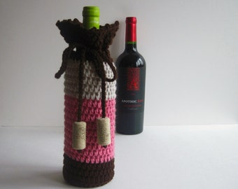Crochet Wine Bottle Cover - Brown, Pink and Linen with Cork Tassels