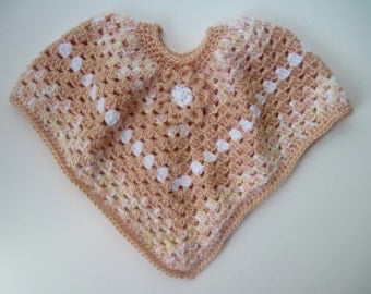 Baby Poncho Sweater - Crochet in Peach and White with a Hint of Yellow - 6 to 12 Months with Flower Applique