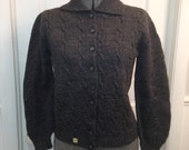 Old Stock!  Great Gift! Never Worn! 1950s Med/Lg Gray Cable Knit Grey Cardigan w/Collar Sz 36 All Soft Wool Original Tags M/L Pin Up!