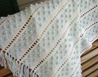 Baby Blanket White with Blue Bobbles Crocheted Afghan Made to Order