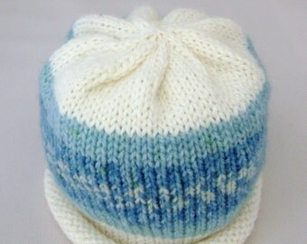 Blue and White Nordic Print Knitted Baby Hat size 3 to 6 months ready to ship