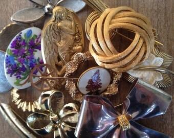 SALE Vintage Brooch Collection - Retro Pins - Destash of Designer Marked Treasures