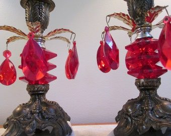Red glass candle holders Ruby red glass vintage taper candle holders goth retro mod candle holder set gold metal marble base Victorian