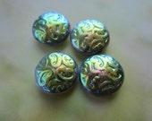 Czech Metallic Green Iris Brocade Beads 13mm 4 Pcs.