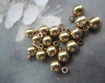 Solid Polished Brass 6mm One Loop Drops Charms Pendants 18Pcs.