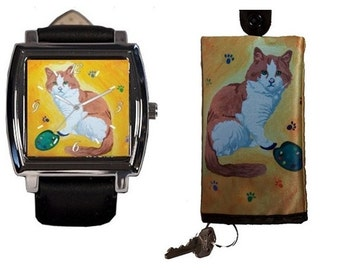 Cat Watch and Matching Key Case by Salvador Kitti - Yes, Salvador Really Does Paint! - From My Painting, Paw in the Paint