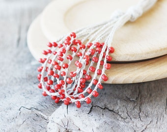 Natural linen necklace with coral red glass beads Gift for her Rustic crochet beaded jewelry Multi strand mid length necklace Summer