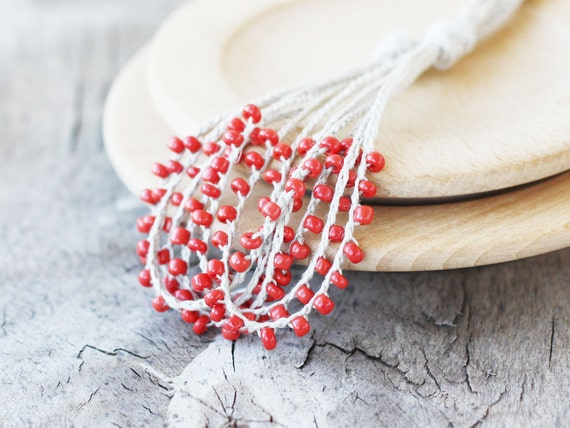 Natural linen necklace with coral red glass beads Gift for her Rustic crochet beaded jewelry Multi strand necklace