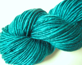 Handspun Single-Ply Teal Vegan Bamboo Yarn