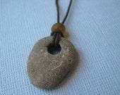 Unisex Gray Sea Stone Leather Necklace