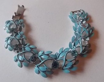 Vintage Jewelcraft  Bracelet Baby Blue Enamel Blue Glass Stones