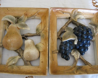 Ceramic Fruits in  Frames (2) Wall Hangings Kitchen Garden Nature Decor