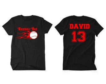 Baseball Dad Men Custom T-Shirt With Personalized Child's Name on Back