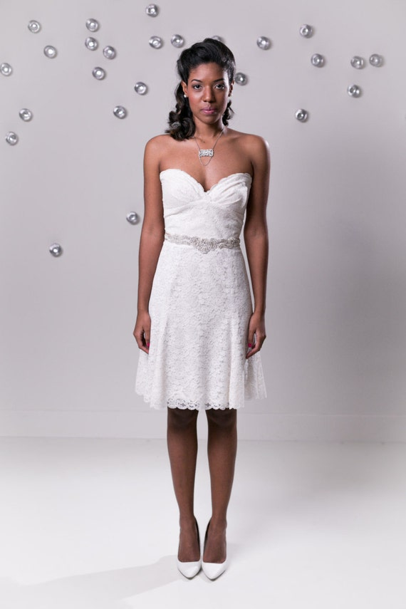 Items similar to sample sale short lace wedding dress for Low back wedding dresses for sale