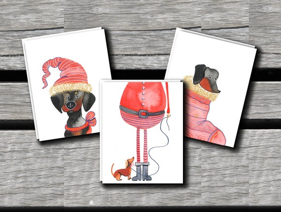 Dachshunds Christmas Cards- Set of 6  // Holiday Cards