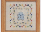 Baby Boy Teddy Bear Counted Cross-Stitch Kit with Frame