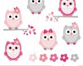 Owl Clip Art - Leona Pink&HotPink -- INSTANT DOWNLOAD