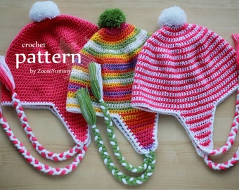 Crochet Pattern - Earflap Beanie (Pattern No. 053) - INSTANT DIGITAL DOWNLOAD