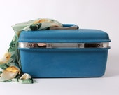RESERVED Until 6/3- Blue Samsonite Train Case, Vintage Cosmetic Case, Blue Carry-on Hard Case,