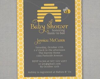 Custom mom-to-bee baby shower invitation