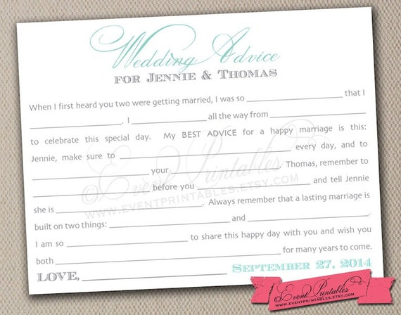 Bridal shower mad libs wedding advice cards aqua turquoise for Bridal shower advice cards template