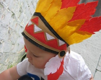 Infant and Children Dress Up Little Indian Pow Wow Chief Indian Headband Headdress