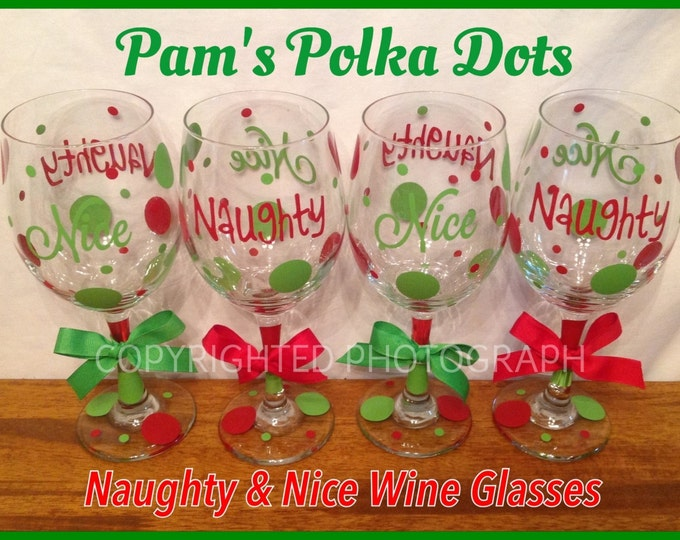 6 Piece Set NAUGHTY & NICE Tall CHRISTMAS Wine Glasses Two-Sided with Polka Dots Great Christmas Gift Red Green