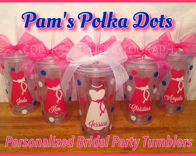 6 Personalized 16 oz. Clear BRIDE & BRIDESMAIDS TUMBLERS Dress, Initial, Polka Dots Bridal Bachelorette Wedding Party