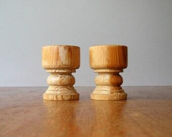Pair Vintage Modern Egg Cups - Stig Johnsson Blonde Wood