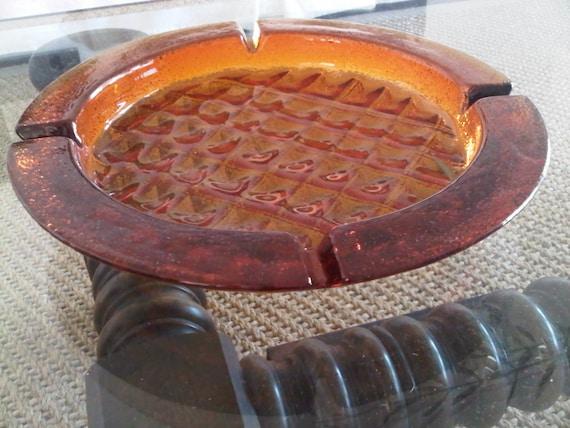 Circa 1940-70's Retro Amber Glass Round Ashtray