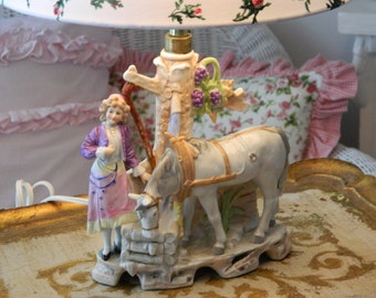 TREASURY ITEM Porcelain German Lamp Horse and Maiden at Well