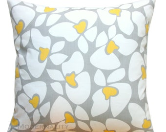 Throw Pillows, Grey and Yellow Pillow Cover, Helen Pillow, Floral Pillow, Zippered Pillow, Grey Cushion Cover, Flowers, Yellow Couch Pillows