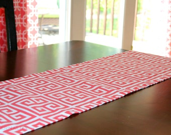 Greek Key Table Runner- Premier Prints Coral and White Towers- All Sizes- Table Linens- Home Decor Dinner Party Holiday Wedding Linens