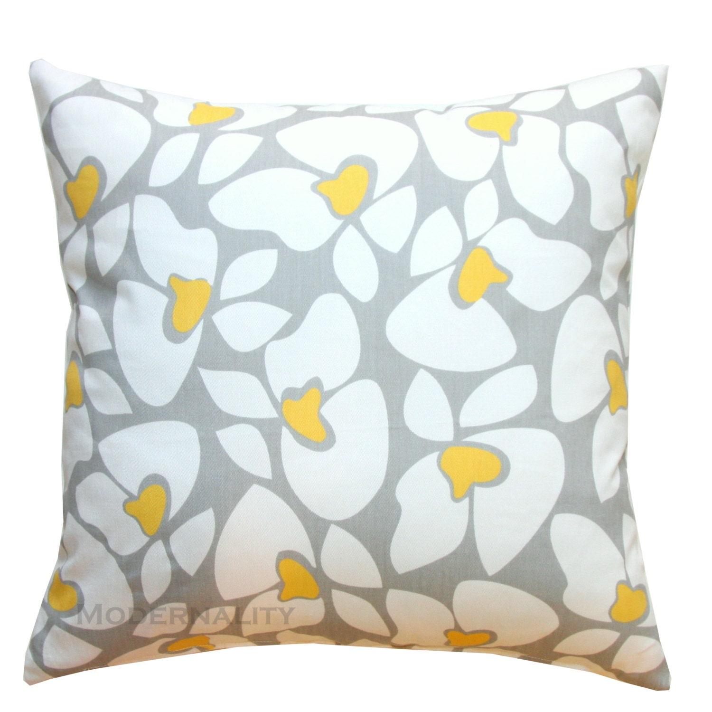 Throw Pillows Grey and Yellow Pillow Cover Helen Pillow