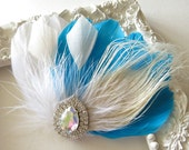 Bridesmaid Feather Hair Accessory, Feather Fascinator, Bridal Hair Piece, Peacock, Ivory,Aqua, White, Feather, Hair Clip 1920s, Gatsby