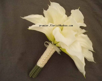 FAST SHIP BOUQUET Wedding Bridal Handtied White Calla Lily  Destination Beach Ceremony Real Touch Silk Flowers with Pearls or Rhinestones