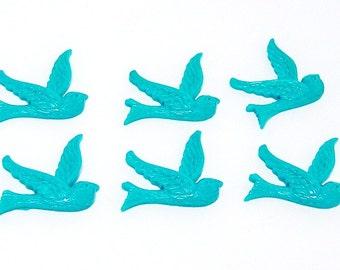 10/Turquoise Blue Acrylic Swalow Bird Cabochons, Acrylic Bird Cabochons, Flying Swallow Birds